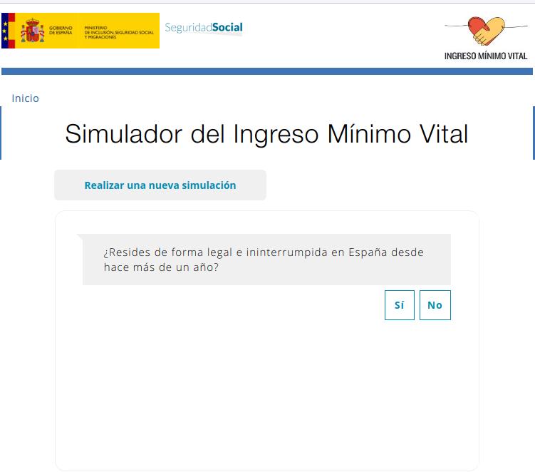 Enlace al simulador del ingreso mínimo vital
