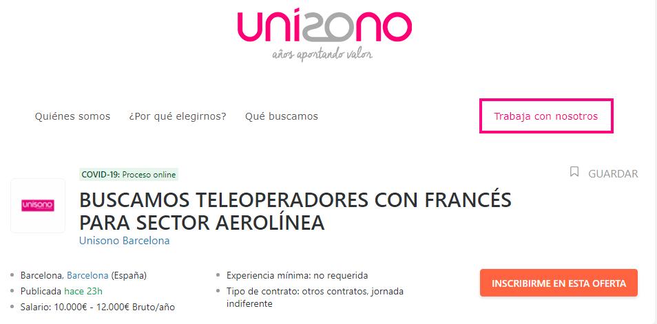 Unísono oferta 500 puestos de trabajo como teleoperadores