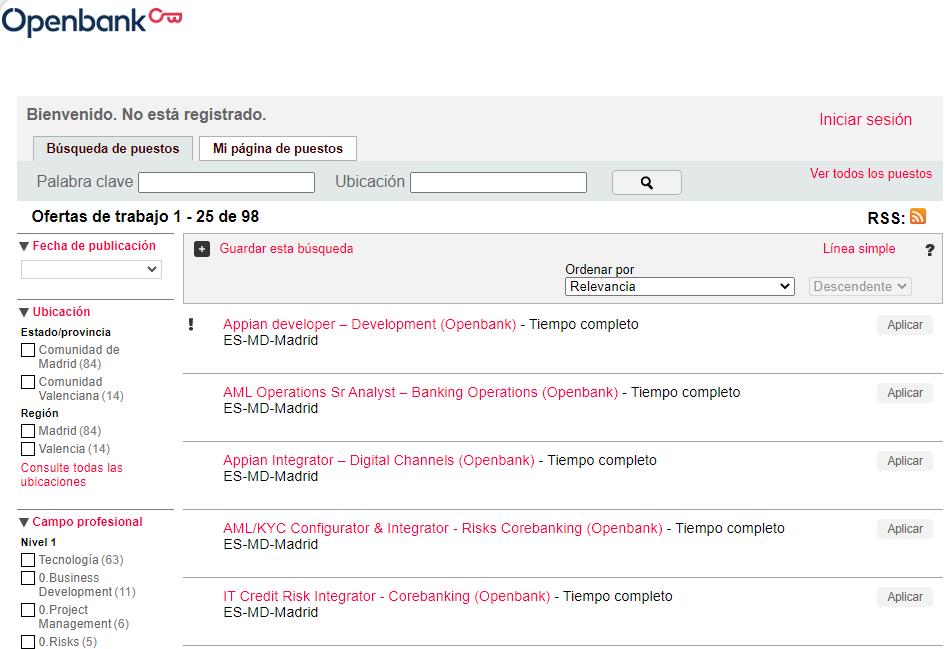 Openbank oferta 200 puestos de banca y tecnológicos