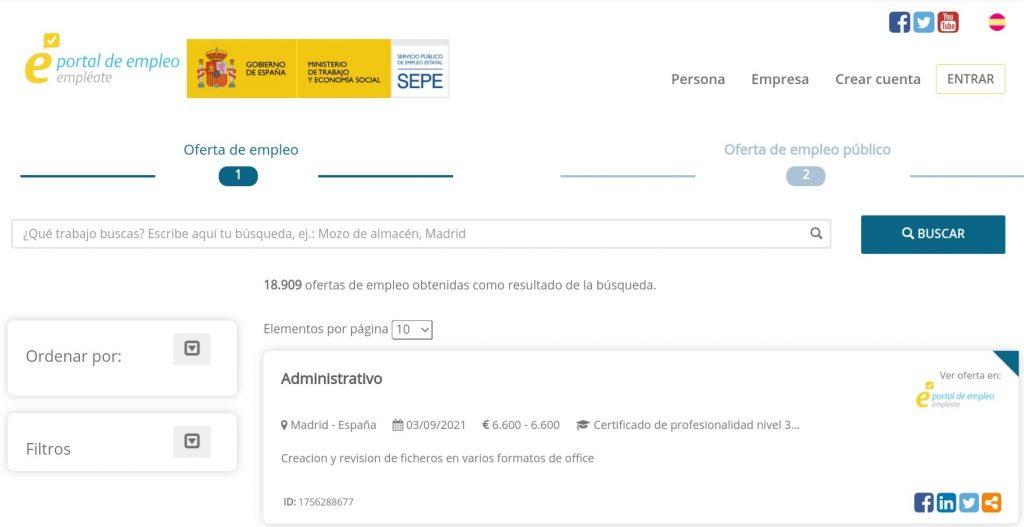 "El portal del SEPE ""Empléate"" publica más de 18.000 ofertas de empleo para septiembre"