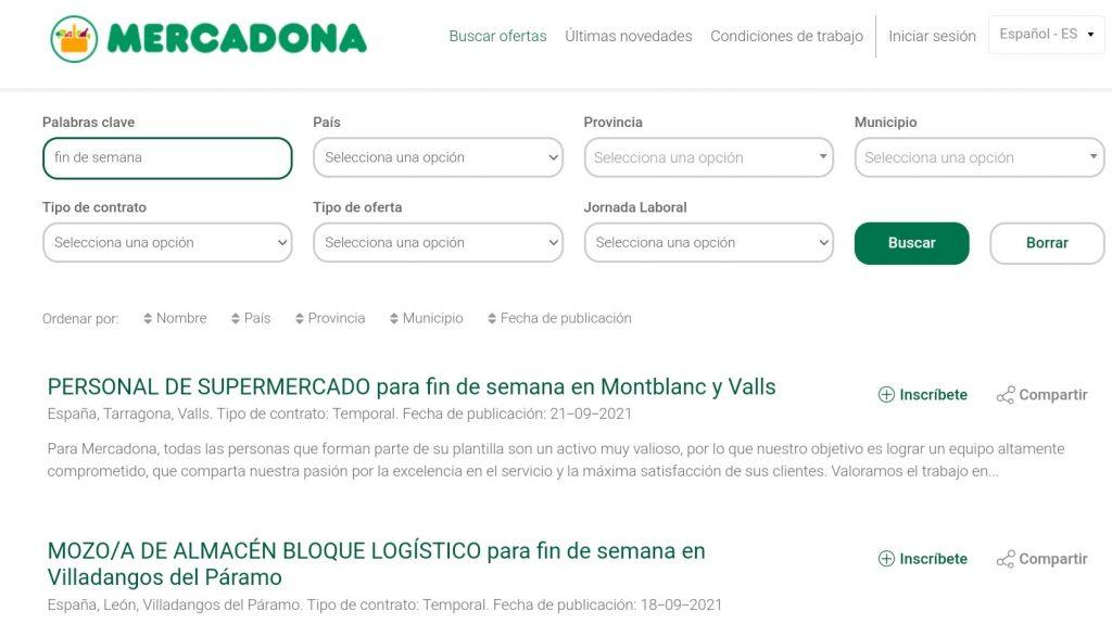 Mercadona busca personal para los fines de semana con sueldos de hasta 670 euros